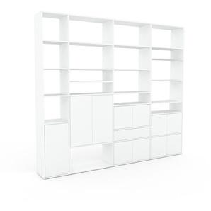 Bibliothèque murale - Blanc, combinable, étagère, avec porte Blanc et tiroir Blanc - 265 x 233 x 35 cm