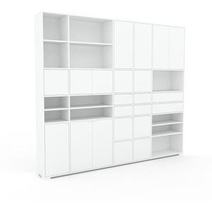 Bibliothèque murale - Blanc, combinable, étagère, avec porte Blanc et tiroir Blanc - 267 x 235 x 35 cm