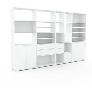 Bibliothèque murale - Blanc, combinable, étagère, avec porte Blanc et tiroir Blanc - 303 x 196 x 35 cm