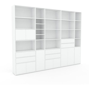 Bibliothèque murale - Blanc, combinable, étagère, avec porte Blanc et tiroir Blanc - 303 x 233 x 35 cm