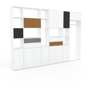 Bibliothèque murale - Blanc, combinable, étagère, avec porte Blanc et tiroir Blanc - 342 x 233 x 35 cm