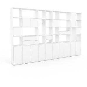 Bibliothèque murale - Blanc, combinable, étagère, avec porte Blanc et tiroir Blanc - 383 x 233 x 35 cm