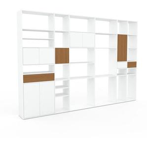 Bibliothèque murale - Blanc, combinable, étagère, avec porte Blanc et tiroir Chêne - 342 x 233 x 35 cm