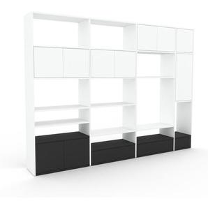 Bibliothèque murale - Blanc, combinable, étagère, avec porte Blanc et tiroir Anthracite - 265 x 195 x 35 cm