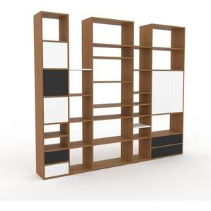 Bibliothèque murale - chêne, combinable, étagère, avec porte blanc et tiroir anthracite - 267 x 233 x 35 cm