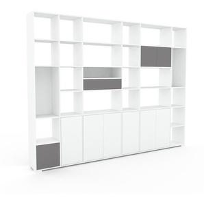 Bibliothèque murale - Blanc, combinable, étagère, avec porte Blanc et tiroir Gris - 306 x 235 x 35 cm