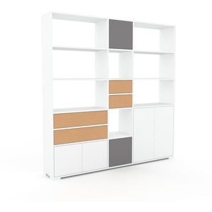 Bibliothèque murale - Blanc, combinable, étagère, avec porte Blanc et tiroir Hêtre - 190 x 196 x 35 cm