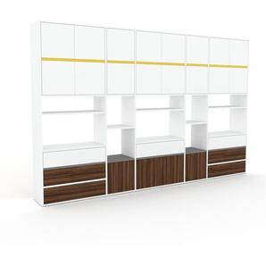 Bibliothèque murale - Blanc, combinable, étagère, avec porte Blanc et tiroir Noyer - 303 x 195 x 35 cm