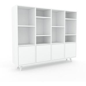 Bibliothèque murale - Blanc, modèle moderne, étagère, avec porte Blanc - 156 x 130 x 35 cm, modulable