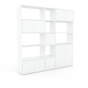 Bibliothèque murale - Blanc, modèle moderne, étagère, avec porte Blanc - 190 x 195 x 35 cm, modulable