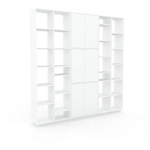 Bibliothèque murale - Blanc, modèle moderne, étagère, avec porte Blanc - 231 x 239 x 35 cm, modulable