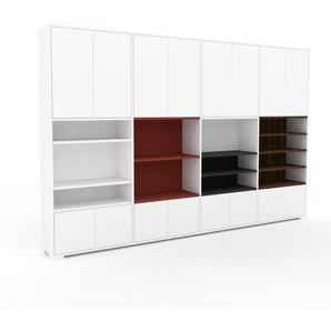Bibliothèque murale - Blanc, modèle moderne, étagère, avec porte Blanc - 301 x 196 x 35 cm, modulable