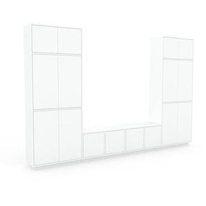 Bibliothèque murale - Blanc, modèle moderne, étagère, avec porte Blanc - 306 x 200 x 35 cm, modulable