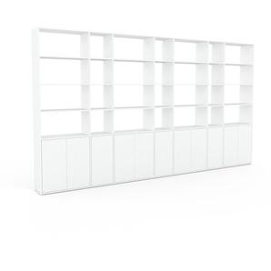 Bibliothèque murale - Blanc, modèle moderne, étagère, avec porte Blanc - 416 x 233 x 35 cm, modulable