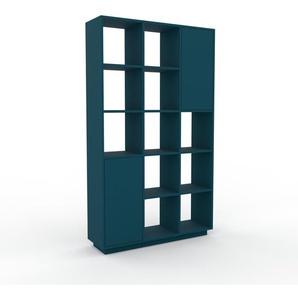 Bibliothèque murale - Bleu, modèle moderne, étagère, avec porte Bleu - 118 x 200 x 35 cm, modulable