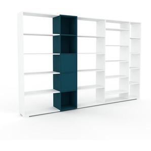 Bibliothèque murale - Blanc, modèle moderne, étagère, avec porte Bleu marine - 303 x 196 x 35 cm, modulable
