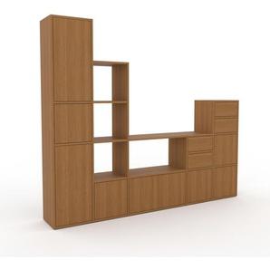 Bibliothèque murale - Chêne, combinable, étagère, avec porte Chêne et tiroir Chêne - 231 x 195 x 35 cm