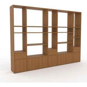 Bibliothèque murale - chêne, combinable, étagère, avec porte chêne et tiroir chêne - 267 x 195 x 35 cm