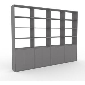 Bibliothèque murale - gris, modèle moderne, étagère, avec porte gris - 301 x 233 x 35 cm, modulable