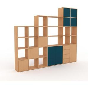 Bibliothèque murale - hêtre, combinable, étagère, avec porte bleu et tiroir hêtre - 270 x 233 x 35 cm