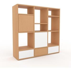 Bibliothèque murale - Hêtre, combinable, étagère, avec porte Hêtre et tiroir Blanc - 118 x 118 x 35 cm