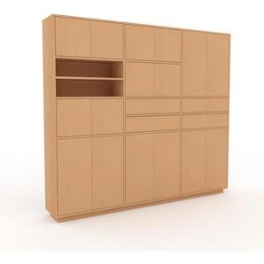 Bibliothèque murale - hêtre, combinable, étagère, avec porte hêtre et tiroir hêtre - 226 x 200 x 35 cm