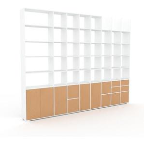 Bibliothèque murale - Blanc, combinable, étagère, avec porte Hêtre et tiroir Hêtre - 347 x 273 x 35 cm