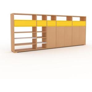 Bibliothèque murale - hêtre, combinable, étagère, avec porte hêtre et tiroir jaune - 303 x 120 x 35 cm