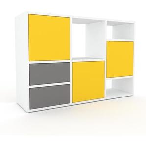 Bibliothèque murale - Blanc, combinable, étagère, avec porte Jaune et tiroir Gris - 118 x 80 x 35 cm