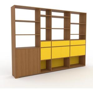 Bibliothèque murale - chêne, combinable, étagère, avec porte jaune et tiroir jaune - 265 x 196 x 35 cm