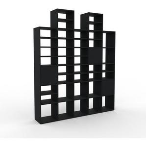 Bibliothèque murale - Noir, modèle moderne, étagère, avec porte Noir - 195 x 233 x 35 cm, modulable