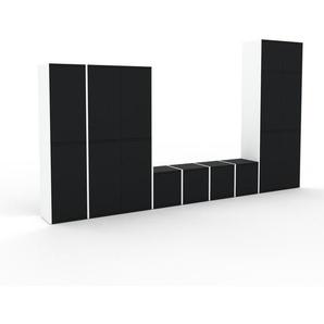 Bibliothèque murale - Blanc, modèle moderne, étagère, avec porte Noir - 344 x 195 x 35 cm, modulable