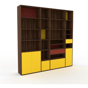 Bibliothèque murale - Noyer, combinable, étagère, avec porte Jaune et tiroir Rouge - 229 x 233 x 35 cm