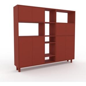 Bibliothèque murale - rouge, modèle moderne, étagère, avec porte rouge - 190 x 168 x 35 cm, modulable