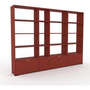 Bibliothèque murale - rouge, modèle moderne, étagère, avec porte rouge - 265 x 196 x 35 cm, modulable