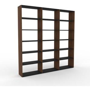 Bibliothèque - Noyer, design, étagère pour livres, sophistiquée, ouverte et fonctionelle - 226 x 233 x 35 cm, personnalisable