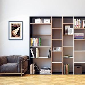 Bibliothèque - Noir, design, étagère pour livres, sophistiquée, ouverte et fonctionelle - 267 x 195 x 35 cm, personnalisable