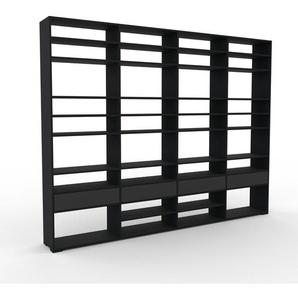 Bibliothèque - noir, modèle tendance, rangements pour livres, avec tiroir anthracite - 301 x 235 x 35 cm, modulable