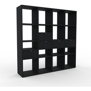 Bibliothèque - noir, modèle tendance, rangements pour livres, avec tiroir noir - 156 x 157 x 35 cm, modulable