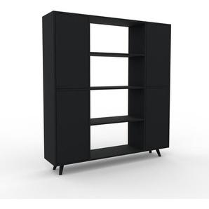 Bibliothèque - noir, pièce de caractère, rangements raffiné, avec porte noir - 154 x 168 x 35 cm, configurable