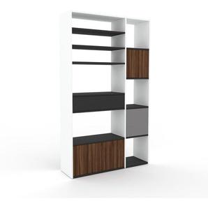 Bibliothèque - Blanc, design contemporain, avec porte Noyer et tiroir Anthracite - 116 x 195 x 35 cm