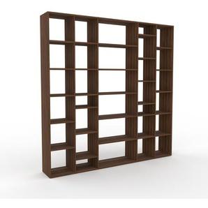Bibliothèque - Noyer, design, étagère pour livres, sophistiquée, ouverte et fonctionelle - 231 x 233 x 35 cm, personnalisable