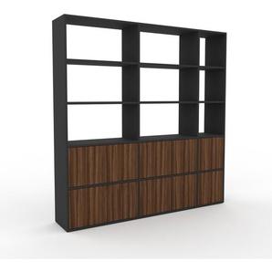 Bibliothèque - anthracite, pièce de caractère, rangements raffiné, avec porte noyer - 190 x 195 x 35 cm, configurable