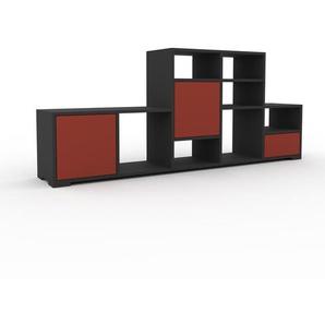 Bibliothèque - Anthracite, design contemporain, avec porte Rouge et tiroir Rouge - 195 x 81 x 35 cm