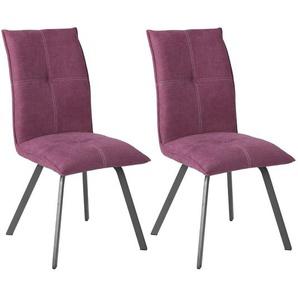 Bispo - Lot de 2 Chaises Tissu Coloris Violet