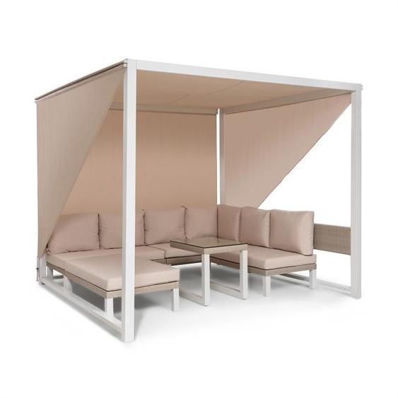 blumfeldt Havanna Pavillon & ensemble lounge 270x230x270cm 4 sièges doubles blanc