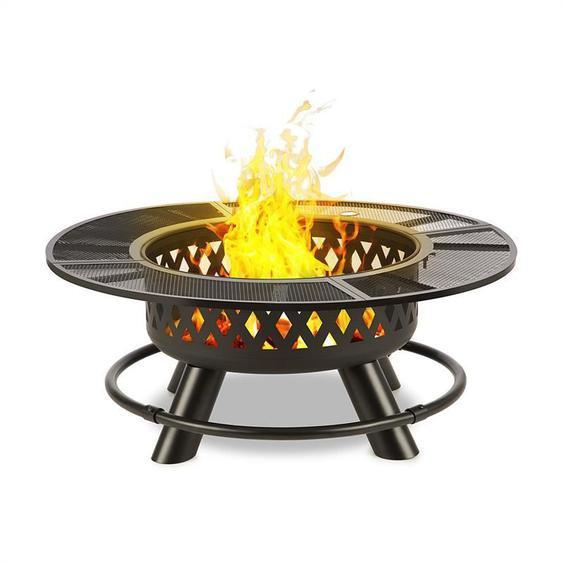 Blumfeldt Rosario Brasero 3 en 1 Ø120cm barbecue 70 cm | plateau de table acier