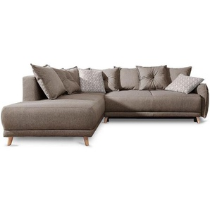 LENA - Canapé dangle scandinave convertible - tissu café latte - BOBOCHIC