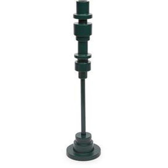 Bougeoir haut Radius aluminium vert foncé H40 cm