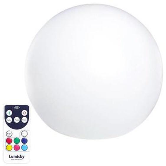 Boule lumineuse sans fil flottante LED multicolore dimmable BOBBY ∅60cm avec télécommande et socle à induction